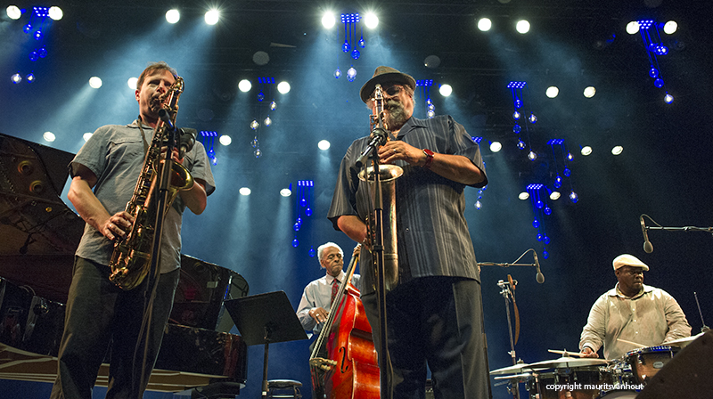 Chris Potter and Joe Lovano live at Gent Jazz 2015. copyright maurits van hout