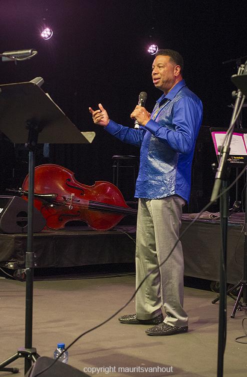 Antwerpen, 13 augustus 2016. tijdens het jaarlijkse Jazz Middelheim Festival treden de zoon van Ornette Coleman en een aantal andere artiesten op in een tribute. foto: Denardo Coleman