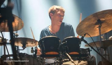 Antwerpen, 14 augustus 2016. Stuff tijdens Jazz Middelheim 2016. Foto: drummer Lander Gyselinck