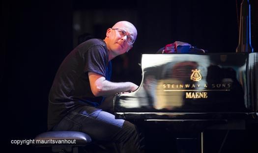 Antwerpen, 12 augustus 2016. Marcin Wasilewski speelt met zijn trio tijdens Jazz Middelheim 2016.