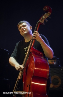 Antwerpen, 12 augustus 2016. Marcin Wasilewski speelt met zijn trio tijdens Jazz Middelheim 2016. foto: bassist Slawomir Kurkiewicz