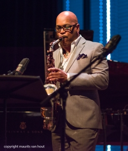 Amsterdam, 25 mei 2017. Trio Vein trad op in het Bimhuis in Amsterdam. Foto: speciale gast Greg Osby