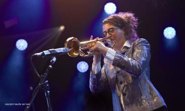 Gent, 7 juli 2017. Tijdens het jaarlijkse Gent Jazz festival treedt French Quarter op. foto: trompettiste Airelle Besson