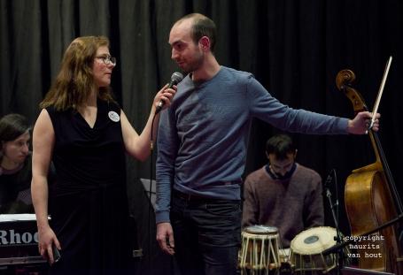 Thomas van Geelen wordt geïnterviewd door Sabina Vissers tijdens Sound of Europe festival in Breda