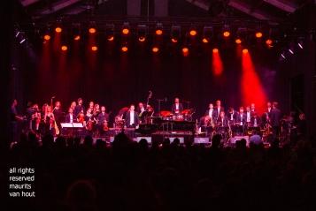 """Antwerpen, 11 augustus 2018. Tijdens het jaarlijkse Jazz Middelheim wordt de avond afgesloten met """"jazz loves disney"""". foto; het orkest"""