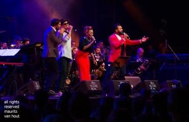 Antwerpen, 11 augustus 2018. Tijdens het jaarlijkse Jazz Middelheim wordt de avond afgesloten met een show genaamd Jazz loves Disney; foto: de vocalisten waaronder Ben L'oncle Soul en China Moses.