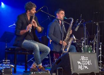 Antwerpen, 11 augustus 2018. Tijdens het jaarlijkse Jazz Middelheim treden de heren Rifflet en Mienniel op in verschillende settings in de clubstage